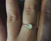 Full moon ring, bone jewelry, stackable sterling silver ring