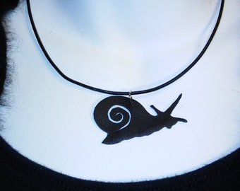 Garden Snail Re-purposed Leather Necklace