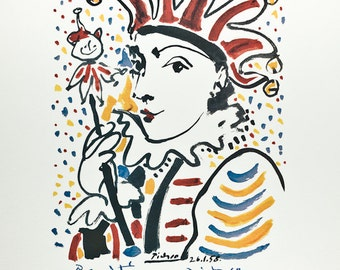 PABLO PICASSO - 'Carnival' - large hand numbered vintage lithograph - c1983 (limited edition. Mourlot, Paris)