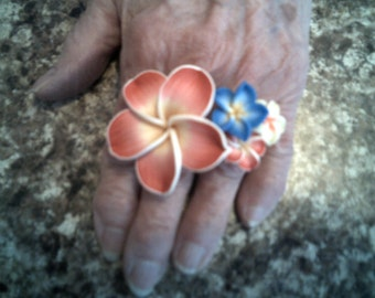 FLORAL RING SET Polymer Clay Flower Large Ring And Three Flower Ring Set Yellow, Blue Rose Gorgeous Rings Exquisite Jewelry Feel Your Best