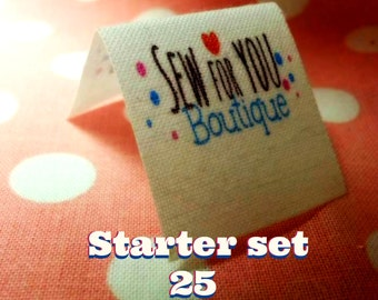 """folded fabric labels 25 Starter set   1""""x 1"""" heat sealed edges no fraying personalized with your logo doll clothes,pocket books, clothing"""