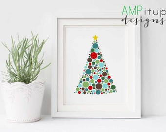 Printable Christmas Decor - Christmas Tree Printable - Christmas Art - Christmas Tree Print - Polka Dot Christmas Tree Instant Download