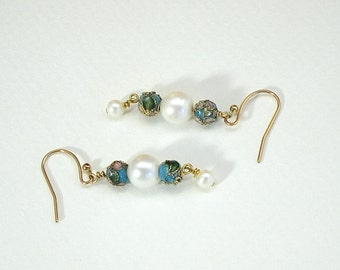 Petite Dangle Earrings, closoine and pearl, small earrings, blue and white, gift for girl, drop earrings, freshwater pearls
