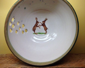 Knitting yarn bowl ceramic boxing hare  design handmade