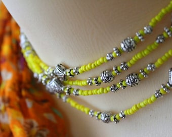 Extra Long Yellow Bead Necklace, Yellow Necklace, Extra Long, Yellow Jewelry, Bright Sunshiney Jewelry, Beaded Wrap Necklace, Moroccan Style