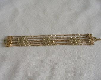Vintage CORA CUFF Chain Bracelet Flapper Style Faux Pearl