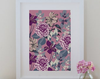 Floral Art Print, Home Decor Wall Art, Botanical Print, A4