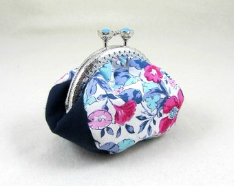 Coin purse, liberty change purse, floral coin pouch, blue gadget pouch, frame purse, handmade purse for her