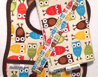 Baby Gift Set: Urban Zoologie Owls - Bib, Burp, Paci Clip