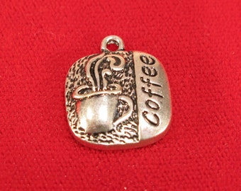 """5pc """"coffee"""" charms in antique silver style (BC983)"""