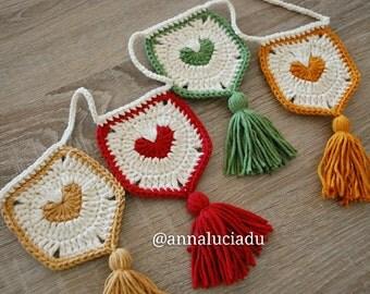 Heart Garland, crochet heart, handmade heart, wedding heart, wedding deco, birthday deco, crochet garland, PDF InsantDownload