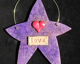 Stoneware Love Word Star Wall Hanging