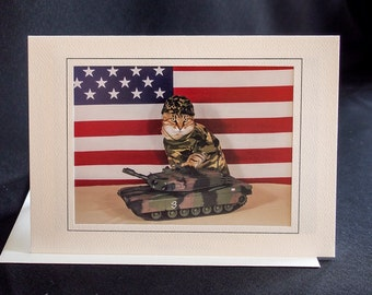 US Army Cat-Combat Cat Note Card-Blank Photography Cat Greeting Card-Gift Card for Cat Lovers-Cat in Camouflage-Dress Up Cat-AE21