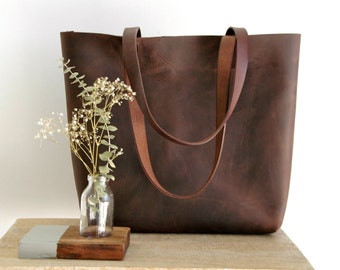 "Large Brown Leather tote bag, handles sewn. ""Cabas Illa Roja"". Premium sturdy distressed leather.  Handmade"