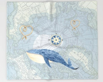 Nautical Map with Whale throw blanket -  cozy, sofa, couch, bed, travel decor, coastal, soft, blue, winter, warm, wanderlust
