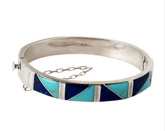 Sterling Silver, Lapis Lazuli and Turquoise Diagonal Division Cuff Bracelet