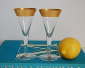 Vintage Dorothy Thorpe Cordial Champagne Glass Pair Gold Gilt Band West Virginia Glass Co Hollywood Regency Glam