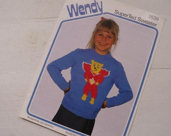 Wendy SuperTed Sweater Pattern, 2539, Knitting Pattern - 51 86cm.