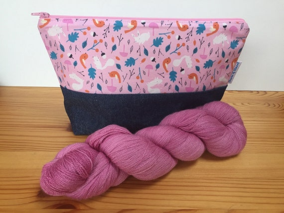 Knitting project bag large cosmetic bag toiletry bag
