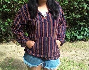Guatemalan hoodie,striped hooded,pullover,medium , Free shipping in the US
