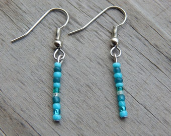 Turquoise Beaded Dangle Earrings - Turquoise Dangle Earrings - Turquoise Drop Earrings
