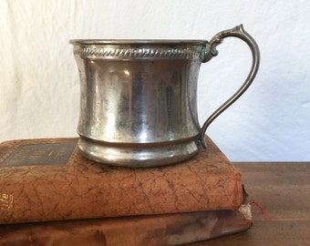 Sale, Antique Baby Cup, LARGE, silver over copper, upcycled pencil holder, Farmhouse antiques, cottage decor