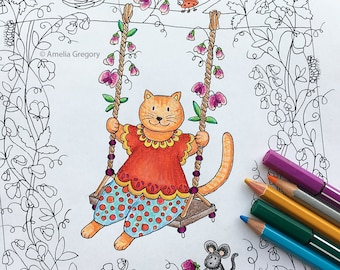 adult coloring pages adult colouring book nursery decor whimsical art sweetpea swing