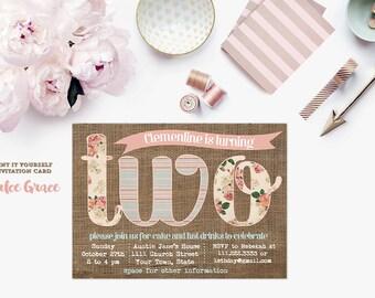 2nd birthday invite, 2 two invite, baby girl invite, cottage chic burlap, floral invite, rustic invite, child birthday, digital invitation