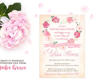girl baby shower invitations, tickled pink baby shower invitation, baby shower invite girl, floral wreath baby shower invites, PRINTABLE VPH