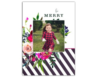 Photo Christmas Cards // Holiday Photo Cards // Family Photo Christmas Cards //5x7 Printable Floral Christmas Card // The Henderson