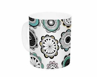 "Ceramic Coffee Mug - Teal Black Floral Jessica Wilde ""Carnival"" JW1009A Great Gift Idea!"