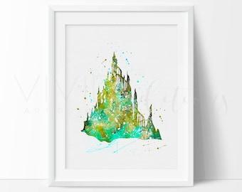 Little Mermaid Castle, Disney Watercolor Art, Baby Girl Nursery Wall Art Decor, Kids Bedroom Decor, Buy 2 Get 1 Free, No. 114
