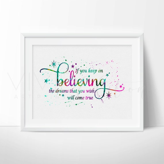 Wall Art Quotes Disney : Cinderella quote print if you keep on believing disney