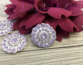 2 - 5 or 10 - Lavender Rhinestones FLAT BACK  25mm metal buttons - Rhinestone Embellishments - Flower Centers - Hair bow Centers