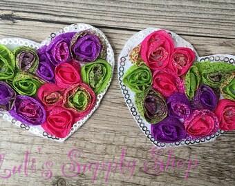 "Floral Valentines Chiffon Rosette Hearts - 3"" Shabby Chiffon Heart Appliques - Valentine's day Fabric & Sequin Heart Applique -"