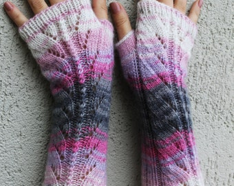 Fingerless Gloves Pink Gray White Arm Warmers Wrist Warmers