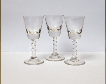 Small glasses with twisted foot  Liquor  Vodka  Sixties