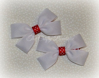 Red & White Bow ~ White Hair Bow ~ Red Polka Dot Bow ~ Small White Bow ~ White Clippies ~ White Pigtails ~ Patriotic Hair Bow ~ Red Hair Bow