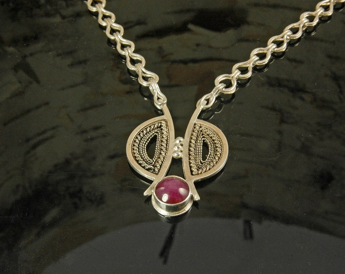 Ruby Filigree Pendant
