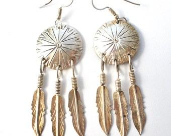 Dreamcatcher Earrings, Sterling Silver,Dangle Feathers,Pierced Earrings,Drop Earrings,Vintage 925 Earrings, Boho Earrings