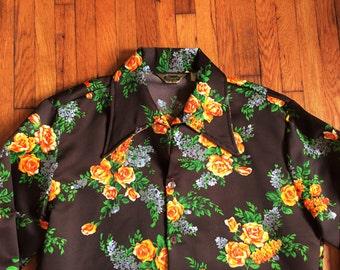 Vintage 70s Triumph of California Floral Disco Shirt Medium