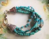 Turquoise bracelet,  boho beach bracelet, summer spring trends southwestern bracelet, gift for her, girlfriend gift, cowgirl silver bracelet