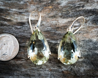 Stunning Prasiolite Dangle Earrings, Green Amethyst, Green Quartz stunning Prasiolite earrings - Green Quartz - Green Amethyst Dangles