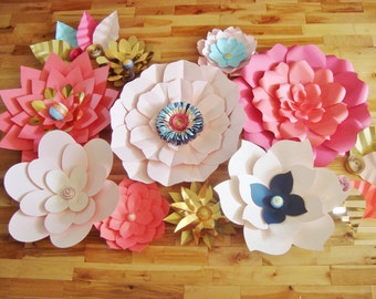 Set of 13 Large Paper Flowers - Multicolour | Paper Flower Wall | Paper Flower Backdrop | Baby Nursery | Home Decor | Wedding Backdrop
