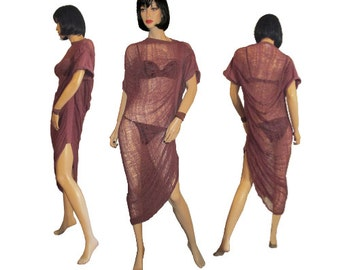 Dark Mauve  Dusty Rose Hand Shredded Dress /Tunic /Beach Cover Up/ Club Wear Cob Web Dress
