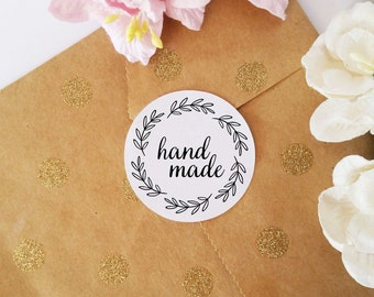 Custom Handmade Stickers, Adhesive Labels, Stickers for Gift Wrapping, Labels for Products, Round Stickers, set of 45 pcs