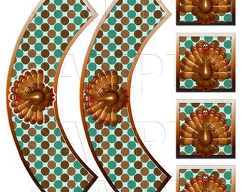 Turkey Cupcake Wrappers and Toppers,Digital Download,DIY Printable,Brown,Aqua,Green