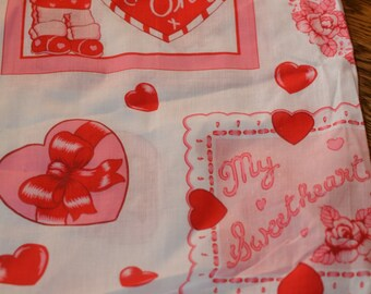 Vintage small piece of pink 'love' Valentine's Day type cloth/fabric appliqué, 'my sweetheart' etc