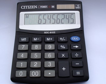 Vintage Citizen Calculator SDC-810II,10 digit  electronic calculator, Japan old calculator, pocket calculator/1980s