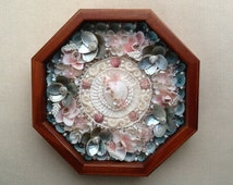 "Sailor's Valentine, ""VICTORIAN HEART"" Sailor Valentine, Sailor's Valentine Shell Art, Sailor's Valentine Shell Flowers"